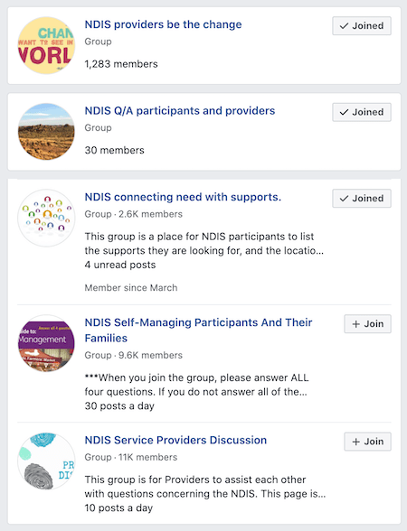 facebook groups are a great place to find ndis providers