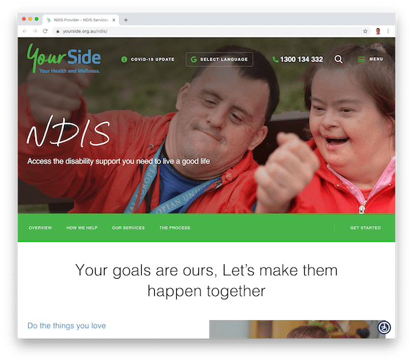 an ndis providers' website home page