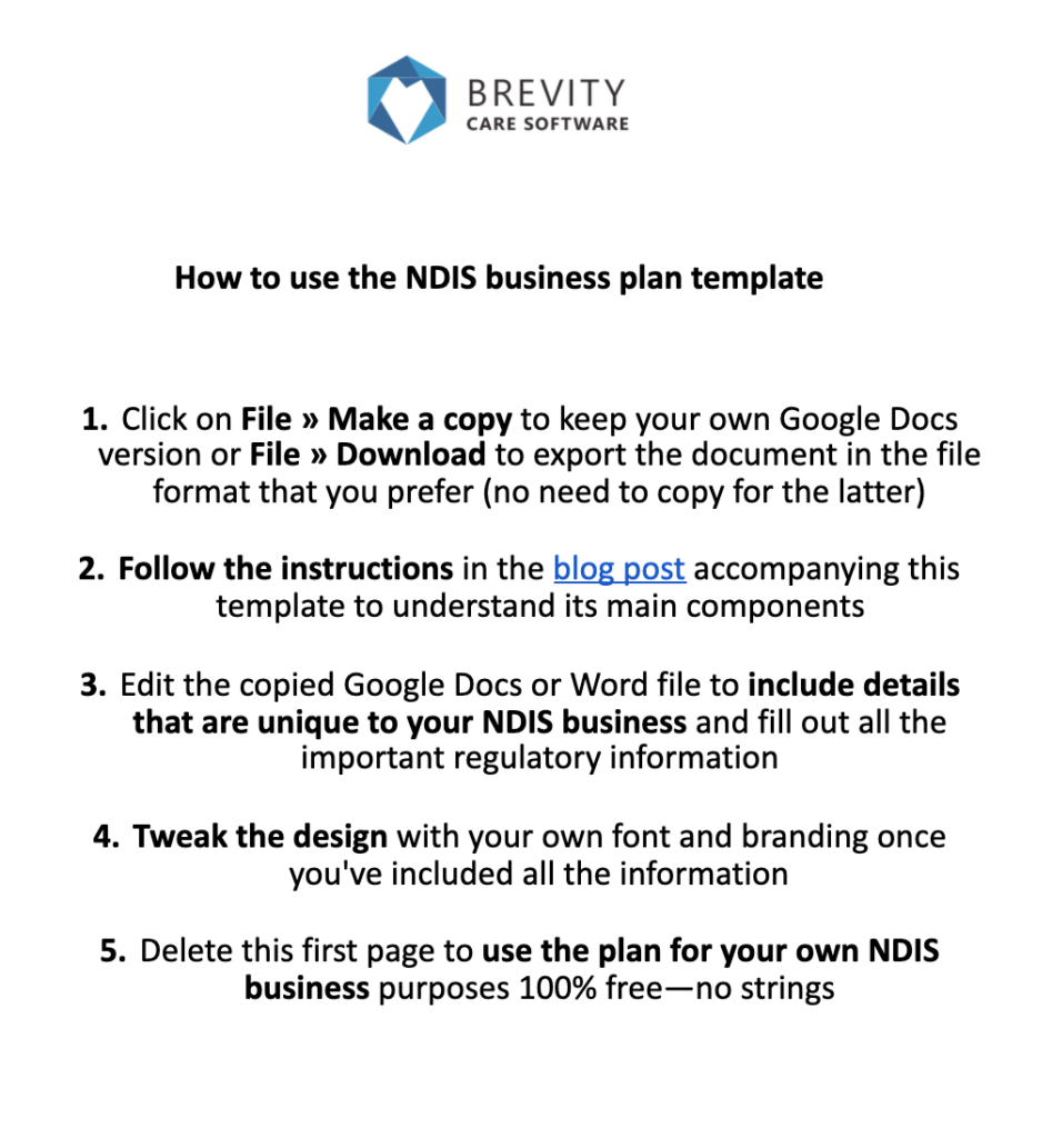 instructions of ndis business plan template