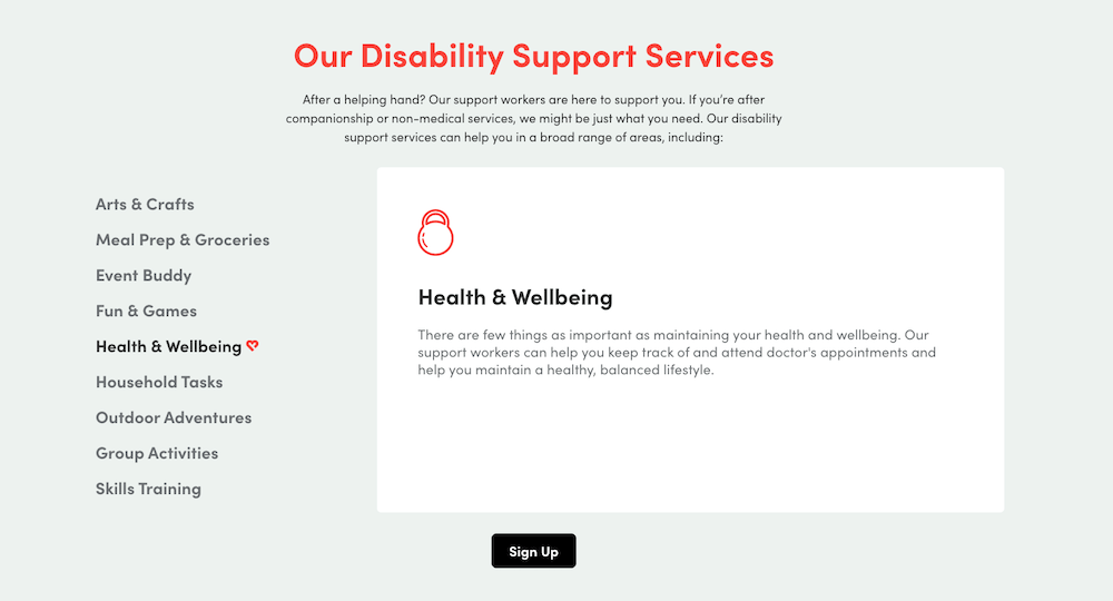 disability support services from like family business example