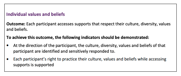 example of ndis practice standards outcome